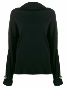 Christopher Kane ribbed jersey diamond top - Black