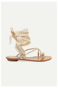 René Caovilla - Elizabella Lace-up Embellished Leather And Grosgrain Sandals - Beige
