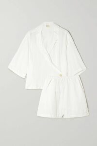 Preen by Thornton Bregazzi - Nikki Cutout Striped Stretch-jersey Top - White