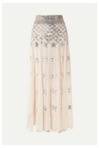 Temperley London - Starlet Sequin-embellished Pleated Chiffon And Point D'esprit Maxi Skirt - Pink