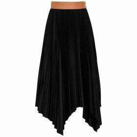 Loewe Black Plissé Midi Skirt