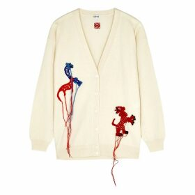 Loewe Cream Animal-appliquéd Wool Cardigan