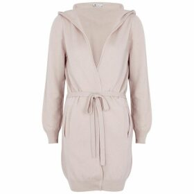 Johnstons Of Elgin Pink Hooded Cashmere Cardigan