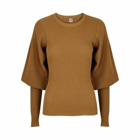 Totême Vignola Brown Ribbed-knit Jumper