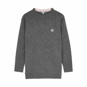 Loewe Grey Anagram-embroidered Wool Jumper