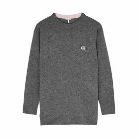 Loewe Grey Anagram-embroidered Wool Jumper