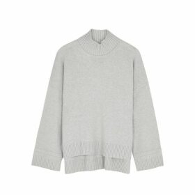 Rosetta Getty Grey High-neck Cashmere Jumper