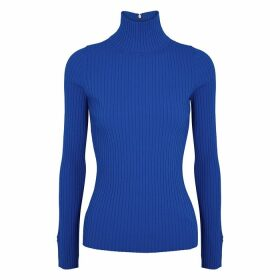 Tory Burch Cobalt Blue Ribbed-knit Top