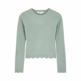 Frame Denim Light Green Ribbed Cashmere Jumper