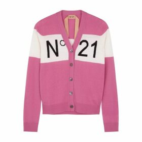 No.21 Pink Logo Wool-blend Cardigan