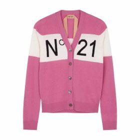 No.21 Pink Logo Wool-blend Cardigan