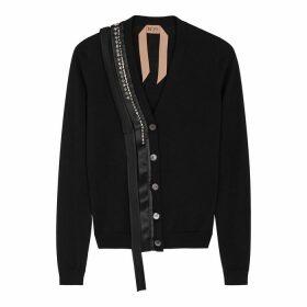 No.21 Black Embellished Wool-blend Cardigan