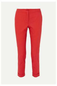 Etro - Cotton-blend Canvas Slim-leg Pants - Red