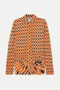 Prada - Printed Crepe De Chine Shirt - Orange