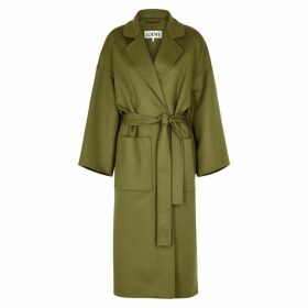 Loewe Olive Belted Wool And Cashmere-blend Coat