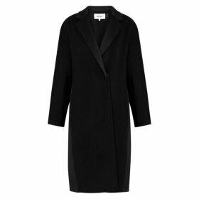 Diane Von Furstenberg Perilla Black Wool And Satin Coat
