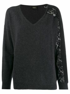 LIU JO scalloped lace sleeve jumper - Grey