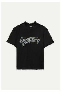 Opening Ceremony - Cropped Appliquéd Ribbed Jersey T-shirt - Black