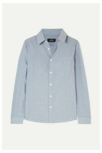 A.P.C. Atelier de Production et de Création - Striped Cotton-poplin Shirt - Light blue