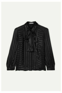 Alice + Olivia - Willis Pussy-bow Striped Jacquard Blouse - Black