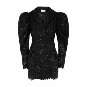 Giuseppe Di Morabito Black Sequin-embellished Lace Blazer Dress