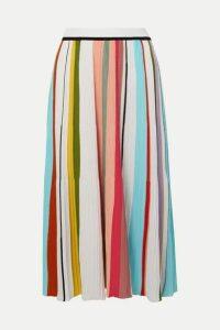 Missoni - Striped Ribbed Crocheted Cotton Midi Skirt - Pink