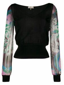 Emilio Pucci contrast sleeve blouse - Black