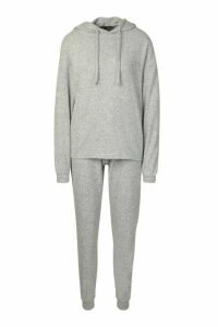 Womens Brushed Jersey Marl Lounge Jogger - grey - 16, Grey
