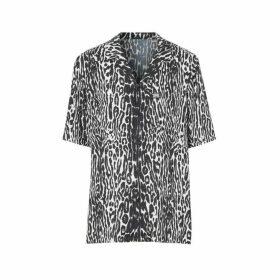 Burberry Short-sleeve Leopard Print Twill Shirt
