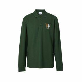 Burberry Long-sleeve Contrast Logo Graphic Cotton Polo Shirt