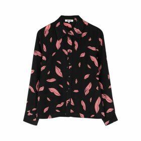 Diane Von Furstenberg Samson Black Printed Silk Shirt