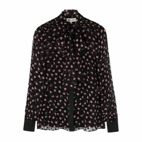 Diane Von Furstenberg Minnie Floral-print Flocked Silk-chiffon Shirt