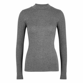 Vaara Evelyn Grey Ribbed Jersey Top
