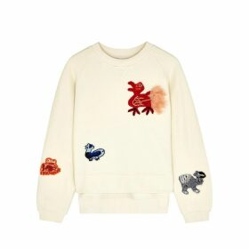 Loewe Cream Animal-appliquéd Cotton Sweatshirt