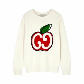 Gucci GG Apple-print Cotton-jersey Sweatshirt
