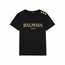 Balmain Black Logo-print Cotton T-shirt