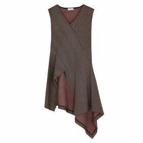 Rosetta Getty Checked Asymmetric Stretch-jersey Top