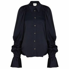 Khaite Leith Navy Satin Blouse