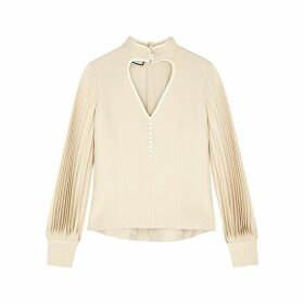 Gucci Ivory Cut-out Silk Blouse