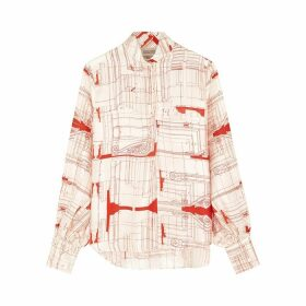 Mark Kenly Domino Tan Basha Ivory Printed Silk Blouse
