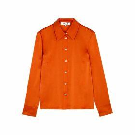 Diane Von Furstenberg Samson Orange Satin Blouse