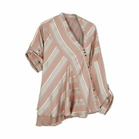 Palmer//harding Triangle Striped Asymmetric Satin-twill Shirt