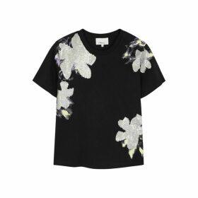 3.1 Phillip Lim Black Embellished Cotton T-shirt