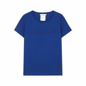 Helmut Lang Royal Blue Logo Cotton T-shirt