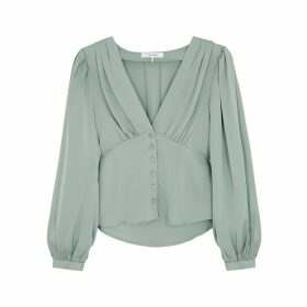 Frame Denim Empire Pleat Light Green Silk Blouse