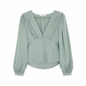 Frame Denim Empire Pleat Light Green Silk Blouse