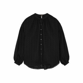 Free People Maddison Black Broderie Anglaise Blouse