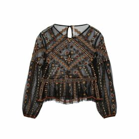 Free People Give A Little Embroidered Tulle Top