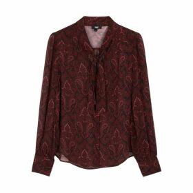 Paige Doah Burgundy Printed Silk Blouse
