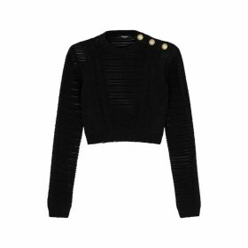 Balmain Black Striped Stretch-knit Top